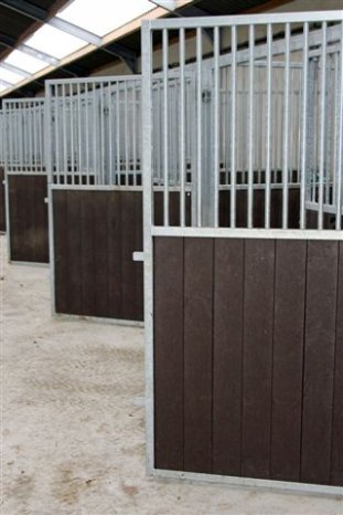 Plastic stable planks - tongue/groove boards - brick brown